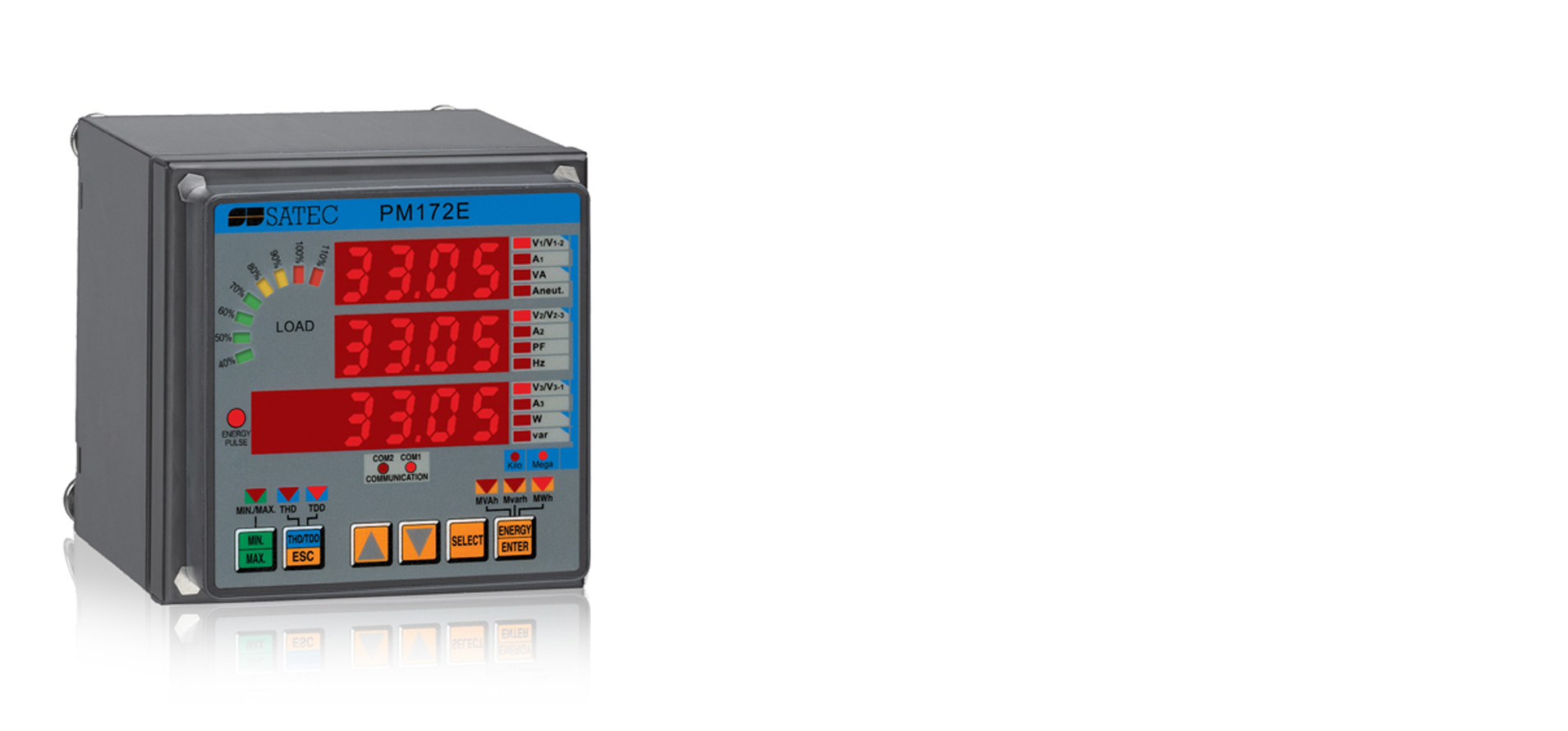 The PM172 is a high performance feeder monitoring instrument that includes revenue class measurements and logging capability.